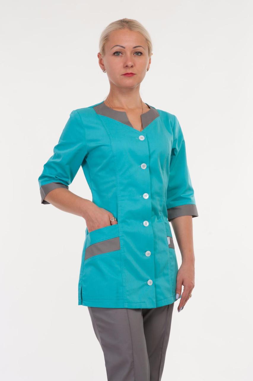 Медицинский женский костюм голубой с серым