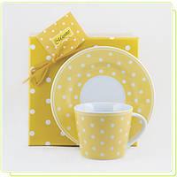 Фарфоровая чашка с блюдцем желтый горошек