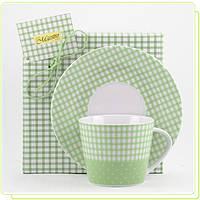 Фарфоровая чашка с блюдцем зеленая клетка