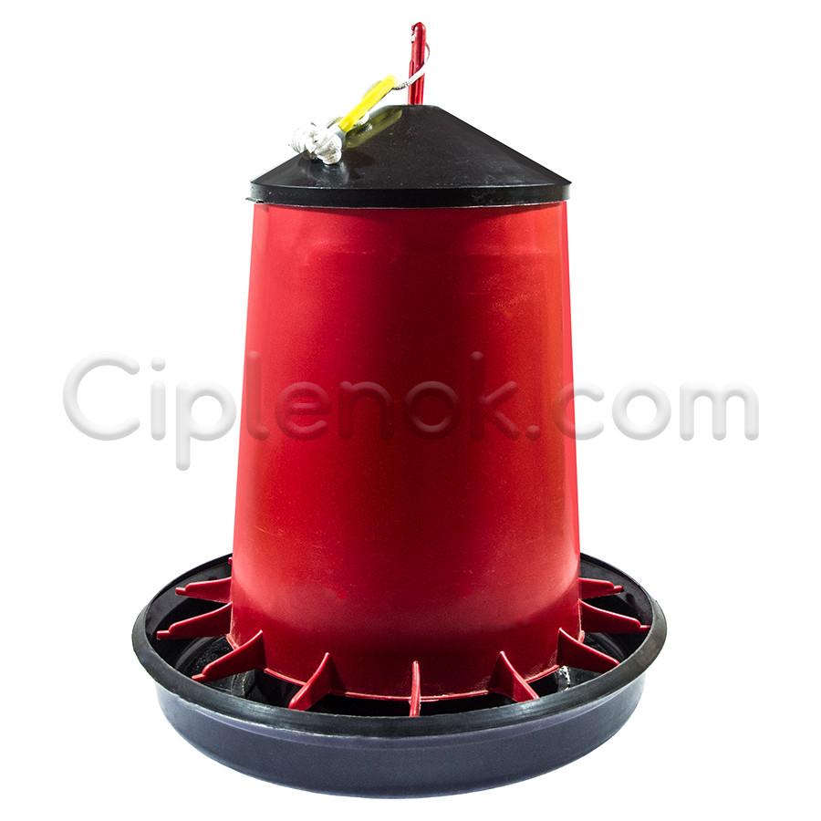 Бункерная кормушка подвесная 15,4 л / 10,4 кг для бройлеров кур несушек, уток, гусей, индюков, перепелов