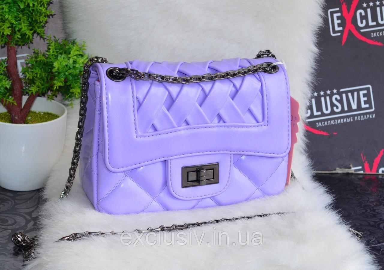 Стильная женская сумка  плетеная сиреневая