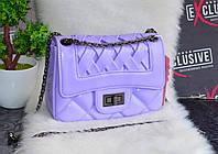 Стильная женская сумка  плетеная сиреневая, фото 1