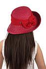 Шляпа женская соломенная декорированная лентой красная, фото 2