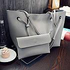 Модная городская женская сумка JingPin 2 в 1 серая (сумка + клатч) JA-1, фото 2