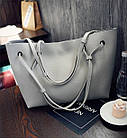 Модная городская женская сумка JingPin 2 в 1 серая (сумка + клатч) JA-1, фото 4