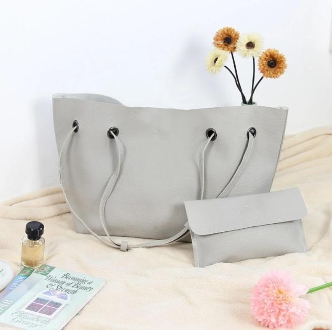 Модная городская женская сумка JingPin 2 в 1 серая (сумка + клатч) JA-1