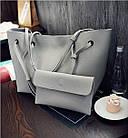 Модная городская женская сумка JingPin 2 в 1 серая (сумка + клатч) JA-1, фото 3