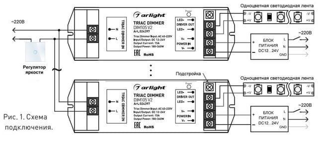 Livolo подключение димера к LED ленте