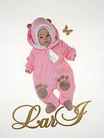 """Комбинезон """"Панда"""", розовый, велюр, зима, 56р."""