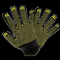Перчатки х/б+синтетика с ПВХ точкой черные