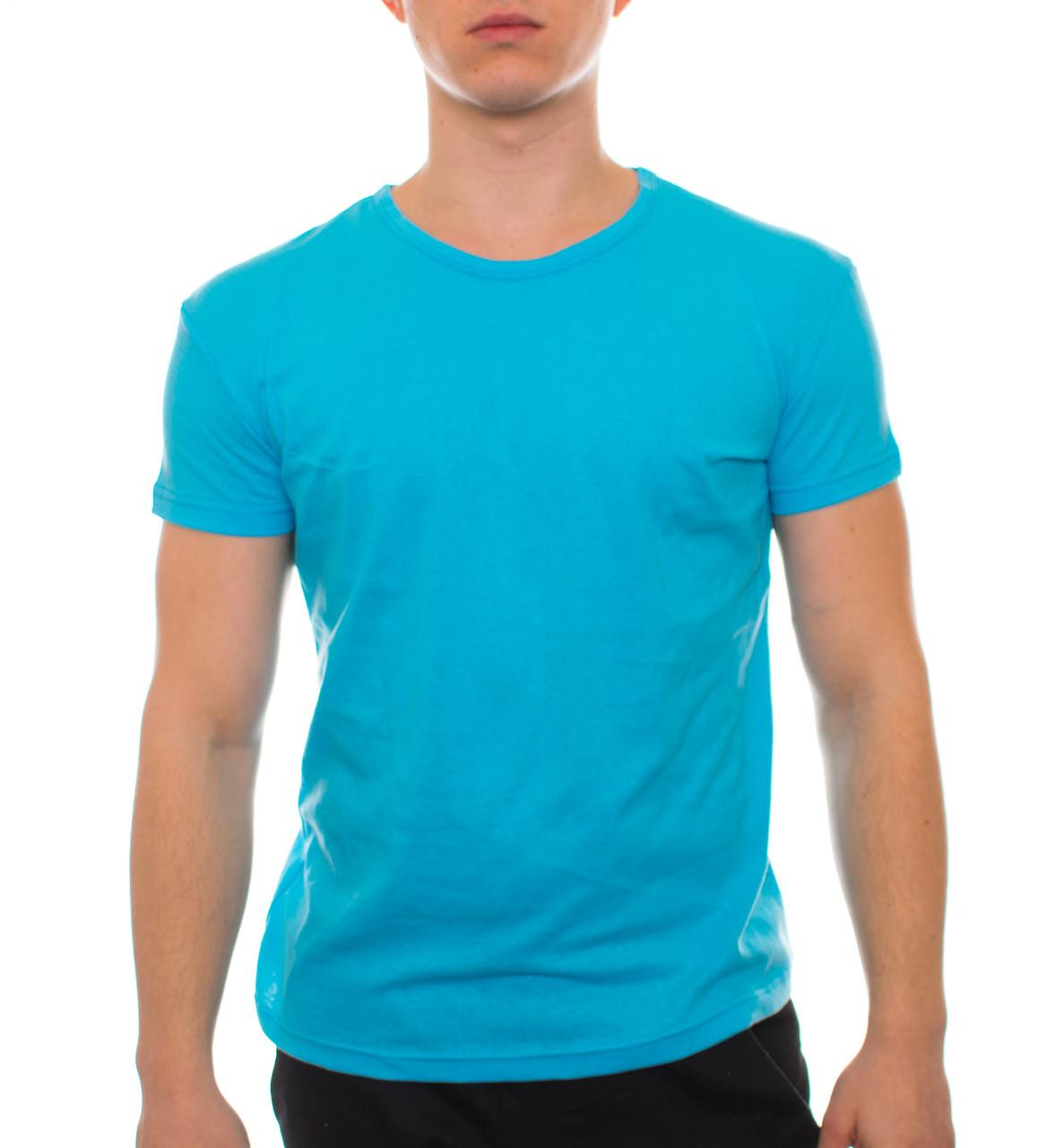Футболка Атлет голубая хлопок 000152