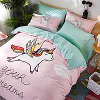 Детский комплект постельного белья с Единорогом (двуспальный-евро), фото 1