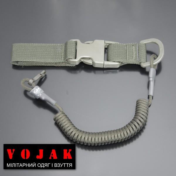 Страховочный шнур под карабины с D-кольцом фастексом и карабином (олива)