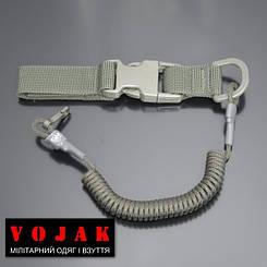 Страхувальний шнур під карабіни з D-кільцем фастексом і карабіном (олива)