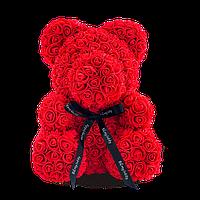 Мишка Из Ароматизированных 3D Роз / 25см, Цвет красный, в подарочной коробке