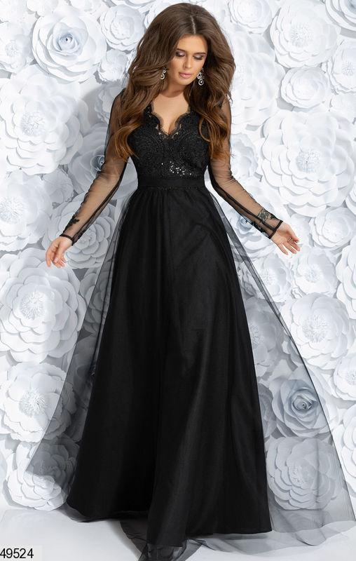 312bf69916446e0 Вечернее платье длинное пышное длинный рукав верх гипюр низ сетка черное,  цена 1 320 грн., купить Дніпро — Prom.ua (ID#867269858)
