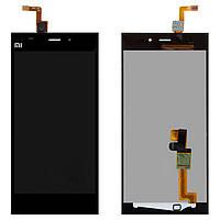 Дисплейный модуль (экран и сенсор) для Xiaomi Mi3, черный, оригинал