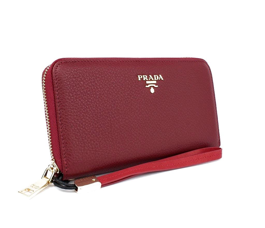 Кошелек кожаный женский на молнии красный Prada 60019