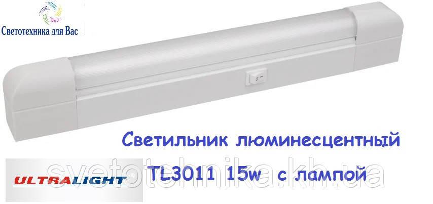 Люминесцентный мебельный светильник Ultralight TL3011 15W белый с выкл 518*65*35, фото 1