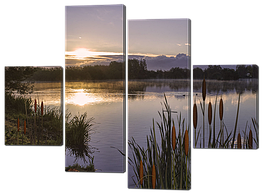 Модульная картина Interno Холст Камыши и озеро 146x108см (R334L)