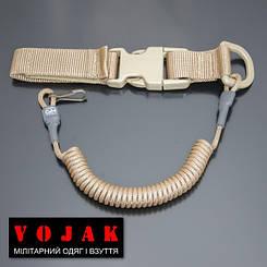 Страховочный шнур под карабины с D-кольцом фастексом и карабином (койот)
