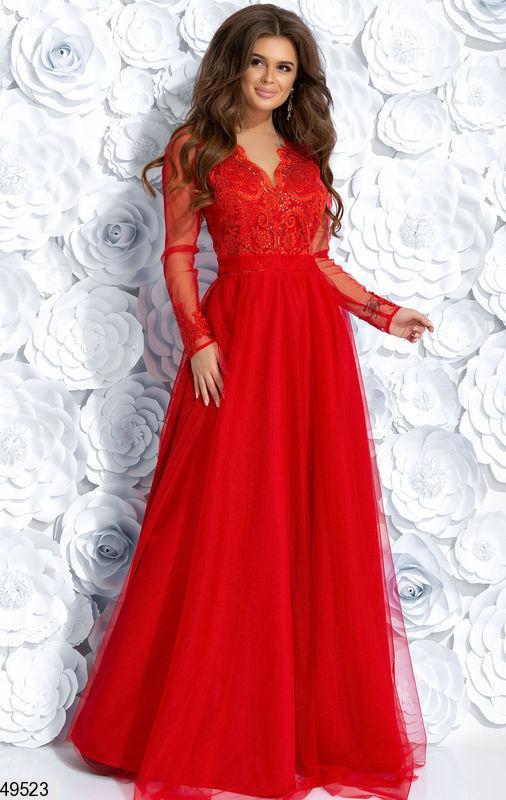 4099e7fc2c9f680 Красивое платье длинное полуприталенное с длинными рукавами ярко красное -