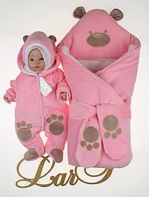 """Зимний велюровый набор для девочек """"Панда"""" розовый, 3-х предметный"""