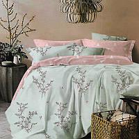 Нежный комплект постельного белья Растения (полуторный, простынь на резинке)
