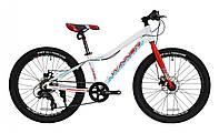 """Подростковый велосипед Winner Junior 24"""" бело-красный"""