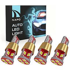 Автолампа диодная T10-3030-12smd-CANBUS, комплект 4 шт, W5W, 194, 168, цвет свечения белый