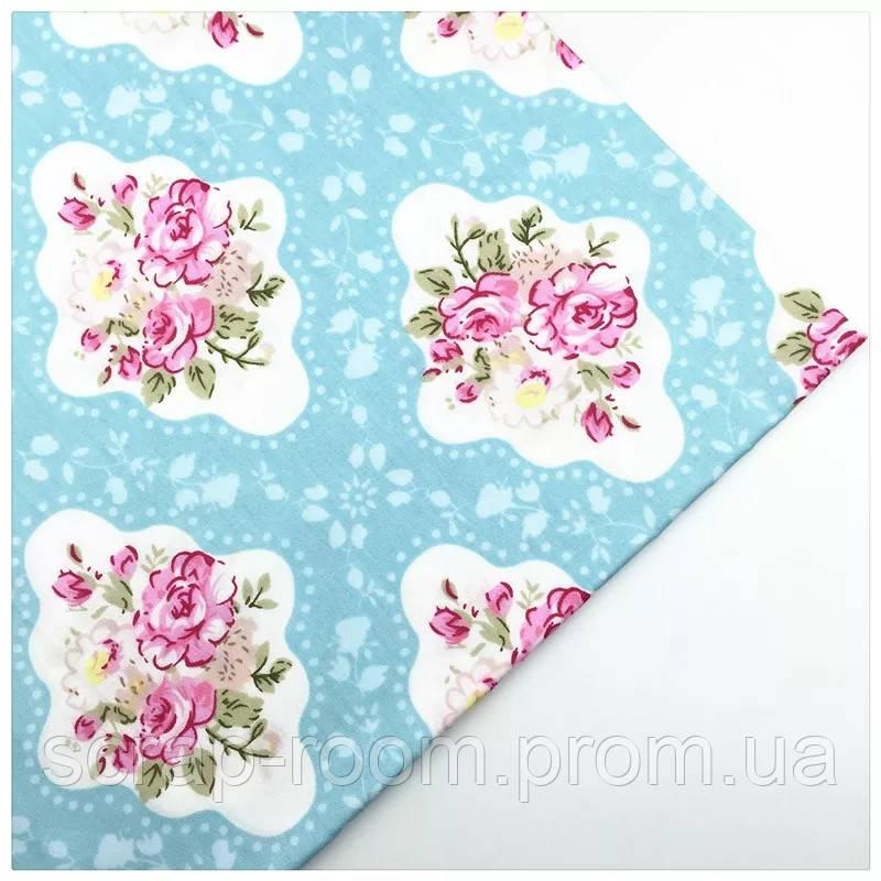 Ткань хлопок 100% отрез 40 на 50 см голубая с цветами, Корея
