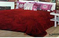 Плед покрывало меховое  Травка Мишка Страус Пушистик  Темно - красный