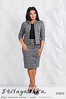 Большой офисный костюм в клетку серый, фото 1