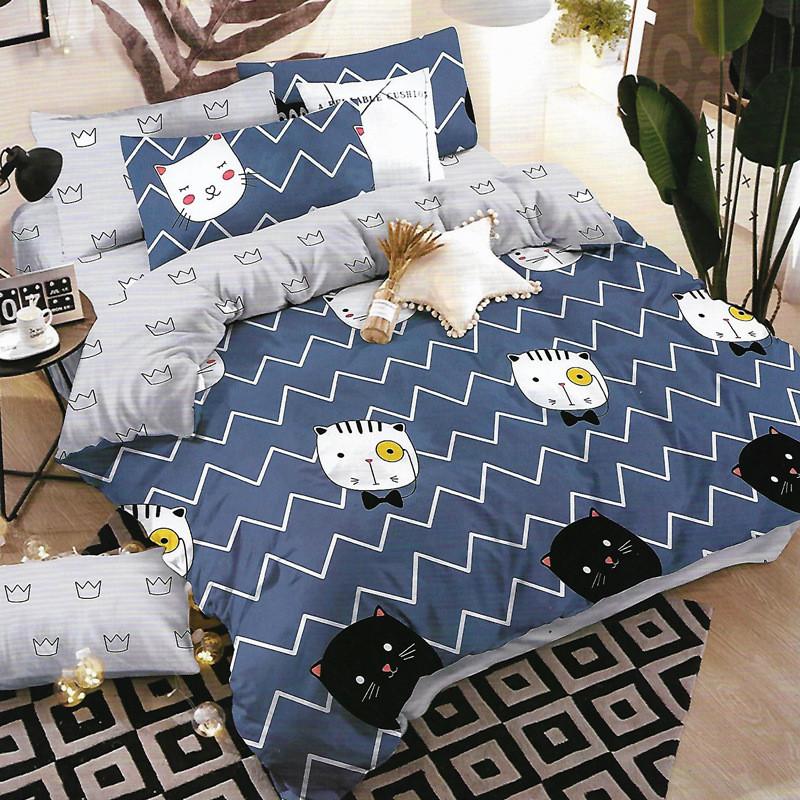 Синее постельное белье Умный кот (полуторный, простынь на резинке)