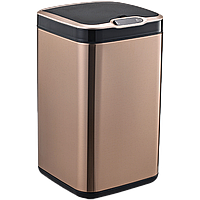 Сенсорное мусорное ведро JAH 13 л квадратное розовое золото с внутренним ведром, фото 1