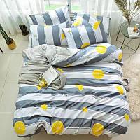 Комплект постільної білизни в смужку Соковитий лимон (полуторний, простирадло на гумці), фото 1