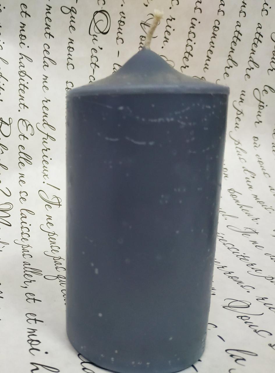 СВЕЧА цилиндр (конусная) серая 11см (диам.6см), фото 1