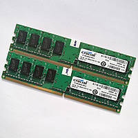 Комплект оперативной памяти Crucial DDR2 2Gb (1Gb+1Gb) 800MHz PC2 6400U CL6 (CT12864AA800.M8FJ2) Б/У, фото 1