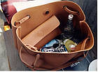 Модная городская женская сумка JingPin 2 в 1 серая (сумка + клатч) JA-1, фото 6