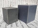 СВЕЧА куб серая 6см*6см.Высота 7см, фото 2