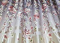 """Ткань атласный блэкаут с принтом """"Фотошторы"""". Высота 2,7м. Цвет серо-лиловый. 318ш"""