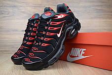 Женские демисезонные кроссовки Nike TN Plus черные с красным топ реплика, фото 2