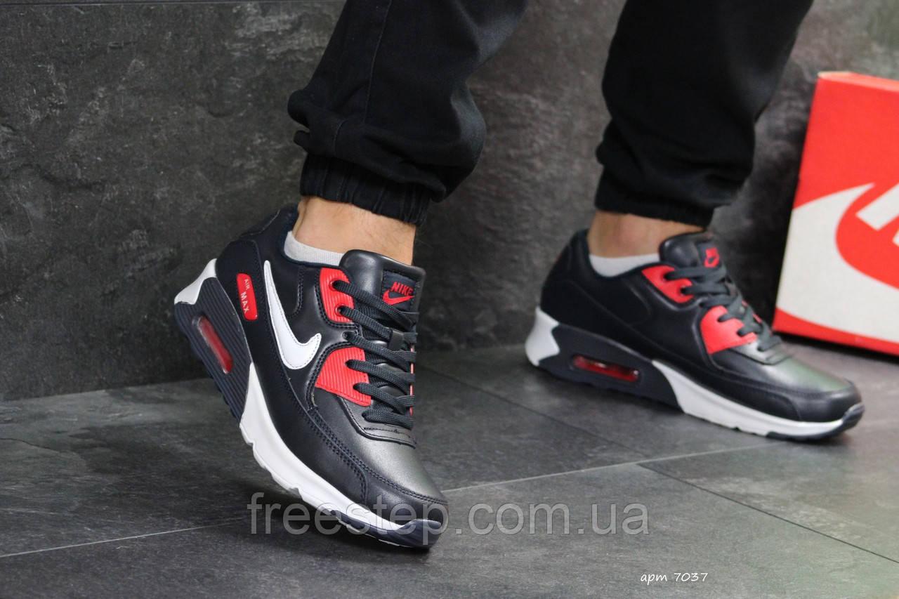 656dc96b8f66a9 Мужские кроссовки Nike Air Max 90 (реплика), темно-синие (7037 ...