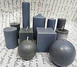 СВЕЧА куб серая 6см*6см.Высота 7см, фото 3