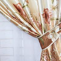 """Ткань атласный блэкаут с принтом """"Фотошторы"""". Высота 2,7м. Цвет оранжевый. 317ш У"""
