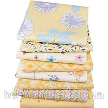 Желтый набор ткани  для пэчворка, скрапбукинга, тильды, рукоделия и др. (8 отрезов 40*50 см)