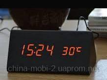 VST-861 Годинники настільні цифрові з будильником, датою і термометром, чорні з червоним підсвічуванням
