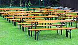 Дерев'яний пивний стіл з лавками 177 х 46 см, фото 5