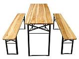 Дерев'яний пивний стіл з лавками 177 х 46 см, фото 2