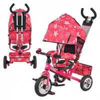 Велосипед М 5361-3-1 надувные три колеса, колясочный, розовый, усиленная двойная ручка